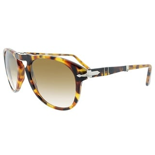 Persol Aviator PO 714 105251 Unisex Madrererra Havana Frame Green Lens Sunglasses