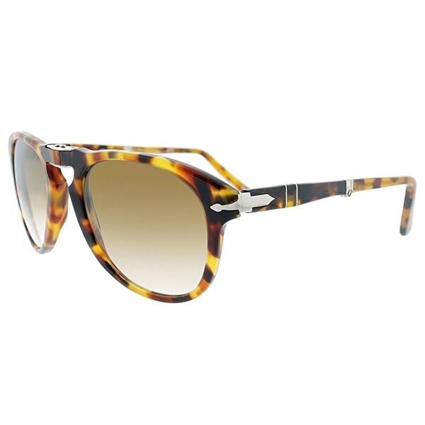 a56e5f5b02f Persol Aviator PO 714 105251 Unisex Madrererra Havana Frame Green Lens  Sunglasses
