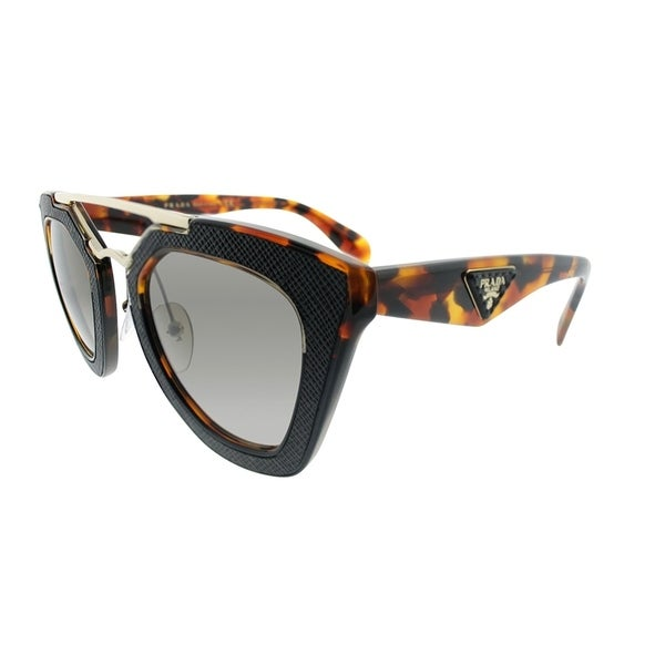 653ed257c9517 Prada Cat-Eye PR 14SS VHA3D0 Womens Havana Black Frame Brown Gradient Lens  Sunglasses