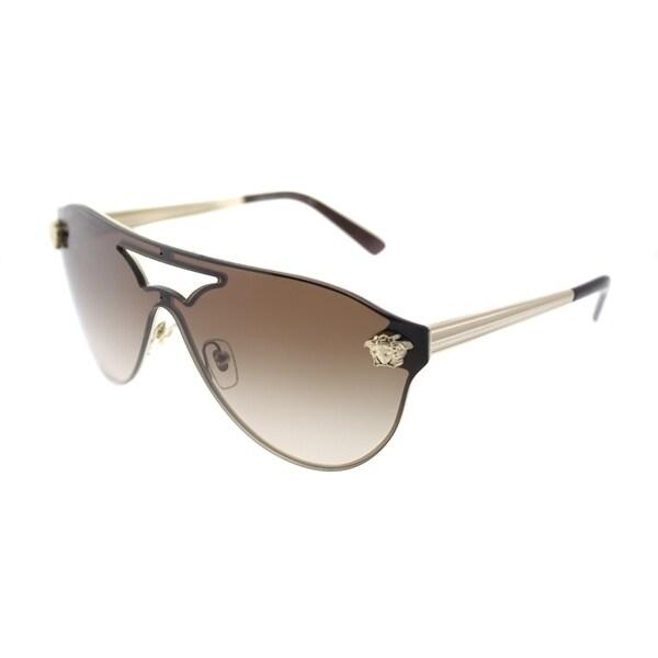d42d55c410 Versace Aviator VE 2161 125213 Women Pale Gold Frame Brown Gradient Lens  Sunglasses
