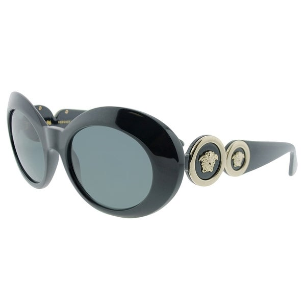 3dc01417d8 Versace Oval VE 4329 GB1 87 Womens Black Frame Grey Lens Sunglasses