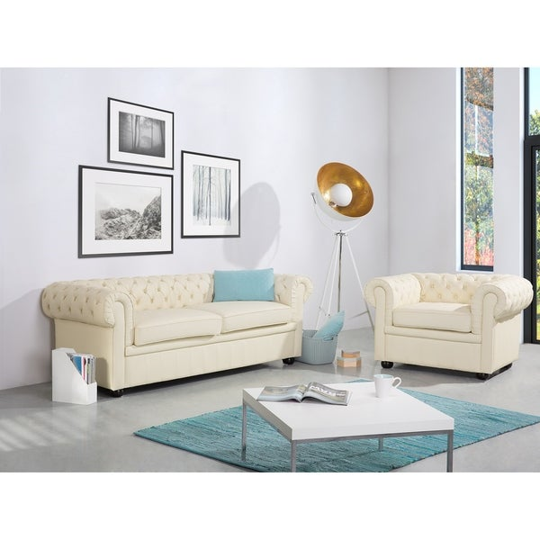 Ordinaire Tufted Leather Sofa   Cream CHESTERFIELD