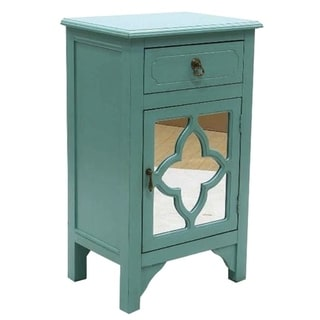 Frasera Wood 1-drawer 1-door Accent Cabinet with Quatrefoil Mirror Inserts