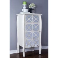 Lana 1-Drawer, 1-Door Accent Cabinet w/ Patterned Mirror Accents