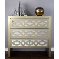 Ellington 3-Drawer Cabinet w/ Mirror Accents and Carved Trellis Facing