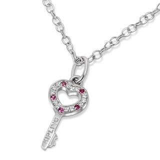 Kipling Kids 925 Silver Key/Heart Cz Pendant 14.5 In Chain w 1 In ext.