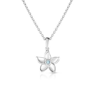 Kipling Kids 925 Silver Flower Cz Pendant 14.5 In Chain w 1 In ext.