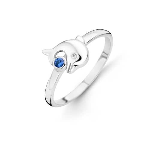 Kipling Kids Sterling Silver Blue Cz Ring