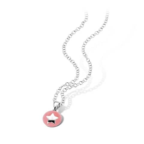 Kipling Kids 925 Silver Star Pink Pendant Necklace 14.5 in w 1.5 ext.