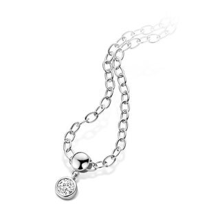 Kipling Kids 925 Silver Cz Pendant w Cable Chain 14 In w 2.5 In ext.