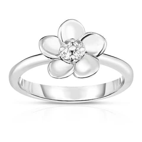 Kipling Kids Sterling Silver Flower Round Cz Ring