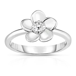 Kipling Kids Sterling Silver Flower Round Cz Ring