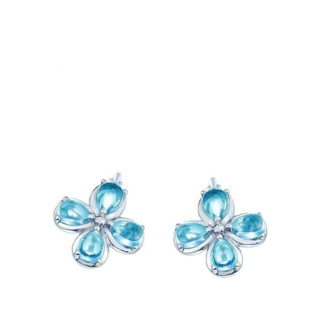 Kipling Children Sterling Silver Blue Cz Flower Earrings
