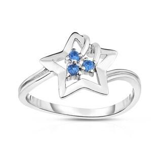 Kipling Kids Sterling Silver Star Blue Cz Ring