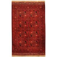 Handmade Herat Oriental Afghan Hand-knotted Tribal Turkoman Wool Rug  - 3'5 x 5'6 (Afghanistan)