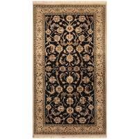 Handmade Herat Oriental Indo Hand-knotted Nain Wool and Silk Rug (3' x 5'4) - 3' x 5'4