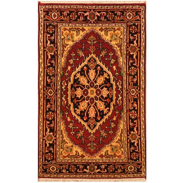 Hand Knotted Heriz Wool Fine Persian Oriental Area Rug: Shop Handmade Herat Oriental Indo Hand-knotted Heriz Wool