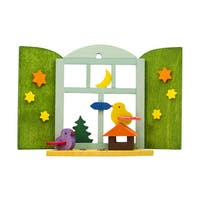 "Alexander Taron Graupner Ornament - Birds in Window - 2.5""H x 3.25""W x 1""D"