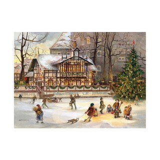 "Alexander Taron Bruck & Sohn Advent - Ice Skating at Xmas - 10.5""H x 15""W x .01""D"