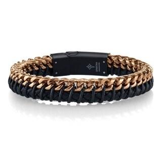 Spartan black leather rose gold ip stainless steel men's bracelet