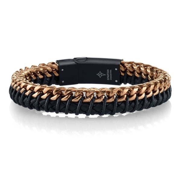 Spartan Black Leather Rose Gold Ip Stainless Steel Men X27 S Bracelet