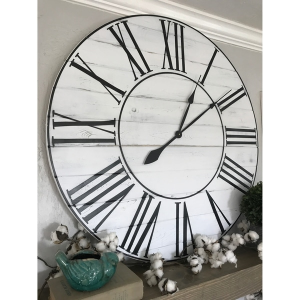 Shop Oversized 36 Inch White Washed Farmhouse Wall Clock