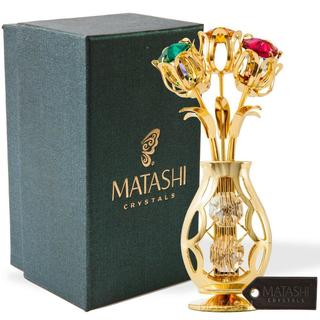 Flowers Bouquet and Vase w/ Colorful Matashi Crystals