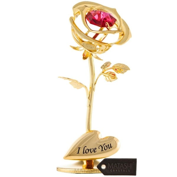 Matashi Single Rose Flower Ornament-- 3 color options (Gold, Rose Gold,Silver). Opens flyout.