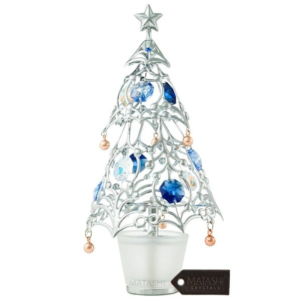 Matashi Gold Plated Christmas Tree Table Top Ornament with Multi Colored Crystals (Silver or Gold)
