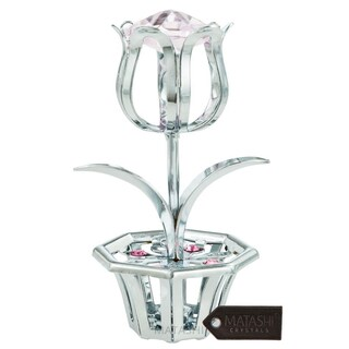 Matashi MTFL3092SBL Chrome Plated Tulip Flower Table Top Ornament with Blue Matashi Crystals (4 Colors)
