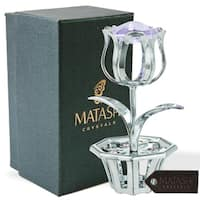 Matashi MTFL3092SBL Chrome Plated Tulip Flower Table Top Ornament with Blue Matashi Crystals  (4 Colors)