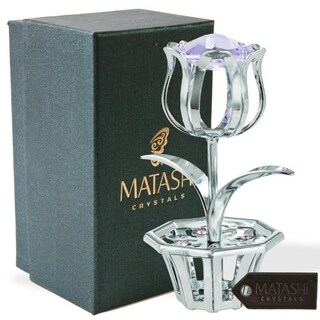 Matashi Chrome Plated Tulip Flower Table Top Ornament with Blue Matashi Crystals (4 Colors)