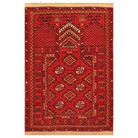 Handmade Herat Oriental Afghan Hand-Knotted Turkoman Wool Rug - 2'7 x 3'8