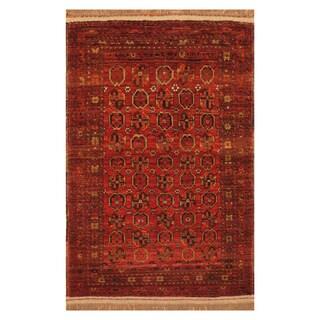 Handmade Herat Oriental Afghan Hand-Knotted Turkoman Wool Rug (2'9 x 4'4) - 2'9 x 4'4