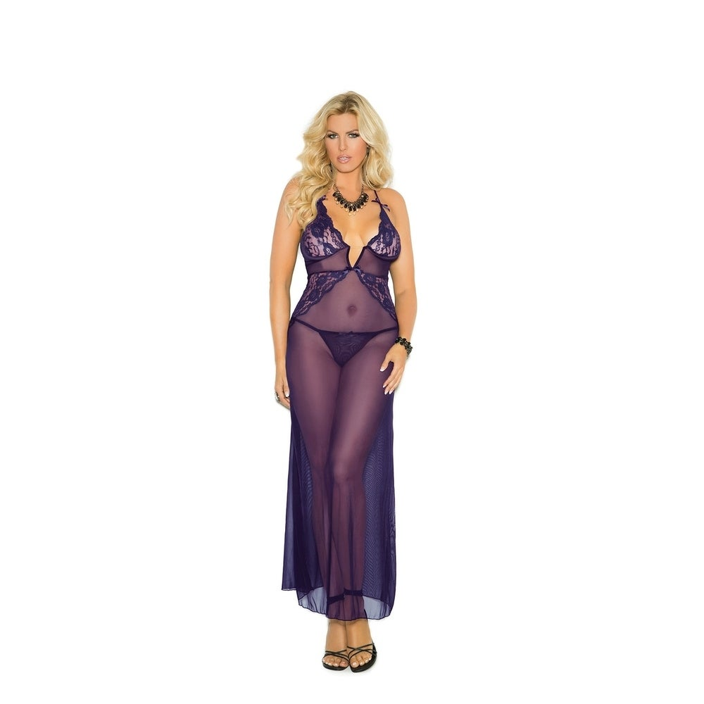 Elegant Moments Plus Size Mesh and Lace Gown with G-String