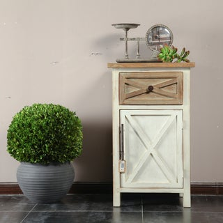 Brown/Off-white Wood Small Rustic Antique Console Cabinet