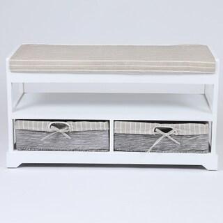 White/ Tan Wood/ Fabric Storage Bench
