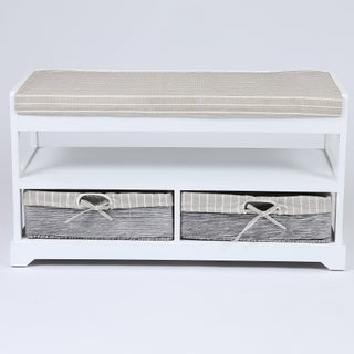 White/ Tan Wood/ Fabric Storage Bench