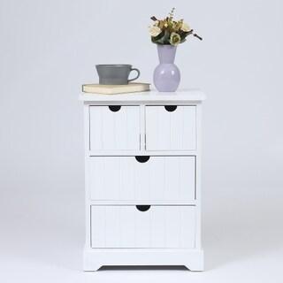 White Beadboard Wood Cabinet