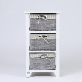 White Wood End Table with Matching Baskets