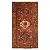 Handmade Herat Oriental Persian Hand-Knotted Antique Heriz 1940's Wool Rug (3'1 x 5') - 3'1 x 5'