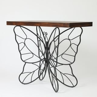 Butterfly Black and Brown Metal and Wood Accent Table