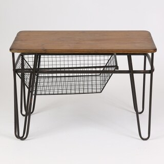 Black and Brown Metal and Wood End Table With Basket