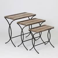 Distressed Brown Wood/Metal Nesting End Tables (Set of 3)