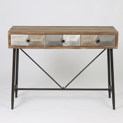 Deco Distressed Wood 3-drawer Console Table