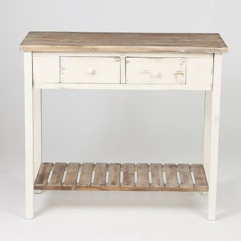 Distressed White Wood Vintage 2-drawer Console Table with Natural Wood Top
