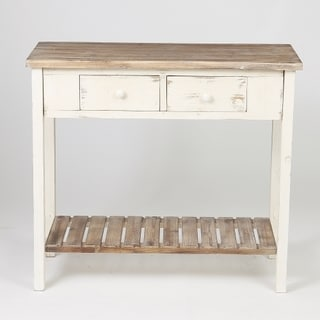 distressed white table. Distressed White Wood Vintage 2-drawer Console Table With Natural Top