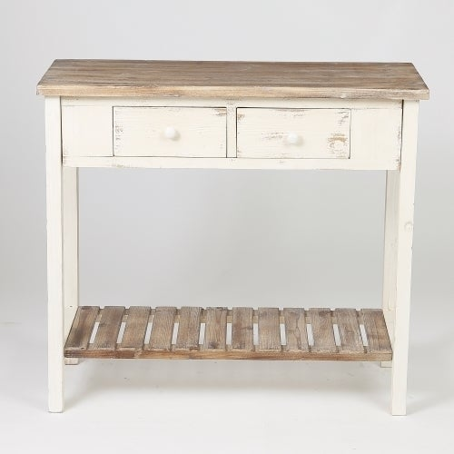 Distressed White Wood Vintage 2 Drawer Console Table With Natural Top