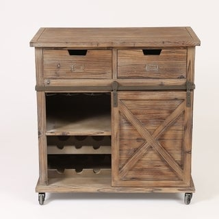 Brown Wood Rustic Sliding Barn Door Wine Cabinet