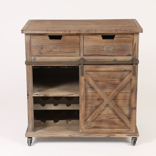 Brown Wood Rustic Sliding Barn Door Wine Cabinet Free Shipping Today 19224237